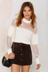 Nasty Gal Lace to the Finish Blouse. Womens tops | semi sheer blouses