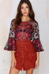 Nasty Gal Lola Embroidered Blouse. Womens tops | flared sleeved blouses | floral embroidery top