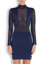 BALMAIN Navy tulle-striped jersey mini dress ~ designer dresses ~ luxury fashion ~ sheer pannels