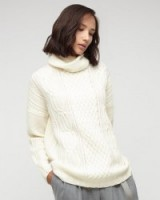 Jigsaw Aran Cable Knit Sweater ivory. Autumn / winter knitwear – roll neck sweaters – luxe style jumpers – knitted fashion