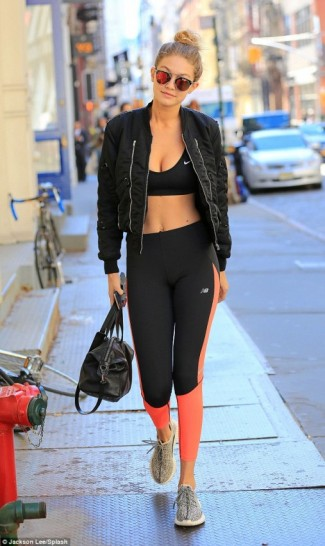 Model Gigi Hadid street style out in New Yorku2026colour block l ... | SnapFashionista.com