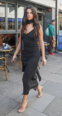 Selena Gomez Does Y Chic In This Black Slinky Slip Dress Scarf With A Pair