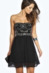 boohoo Niamh Embellished Top Bandeau Chiffon Dress black. Strapless party dresses ~ going out fashion ~ evening glamour