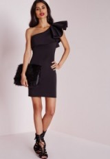 LBD…Missguided one shoulder ruffle bodycon dress. Party dresses – evening fashion – glamorous going out looks – little black dress