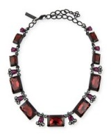 Oscar de la Renta Large Octagon Stone Necklace with red & black faceted stones – statement jewellery – designer fashion jewelry – occasion necklaces