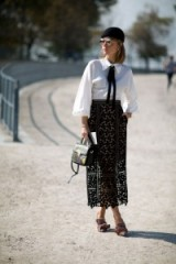 Street style at Paris Fashion Week S/S 2016. monochrome outfits | sheer black lace skirts