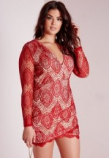 Missguided plus size lace plunge dress red – party dresses – going out glamour – evening fashion – parties