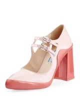 Prada Double-Buckle Mary Jane Pump, Pink/Geranium. Mary Janes ~ double strap shoes ~ block heel ~ high heels ~ designer footwear