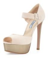 Prada Mary Jane High Heel Sandal, Cipria/Platino. Nude Mary Janes ~ high heeled platforms ~ platform sandals ~ designer shoes ~ stiletto heels