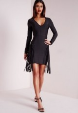 Missguided premium bandage fringe long sleeve bodycon dress black – evening glamour – going out fashion – party dresses – parties
