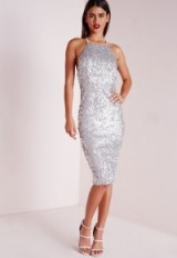 Missguided premium matte sequin midi dress silver – evening glamour – shimmering party dresses – parties – sequins – sequined going out fashion