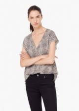 MANGO flowy printed blouse. Animal prints – womens tops – short sleeve blouses