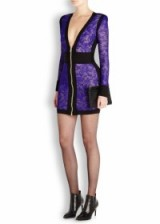 BALMAIN Purple knitted lace mini dress ~ plunging necklines ~ designer occasion wear ~ luxury evening dresses