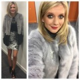 Rachel Riley looking cute in a grey faux fur coat and short skirt