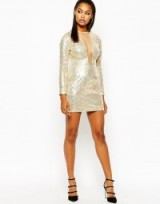 Rare London Plunge Neck Long Sleeve Bodycon Dress In All Over Sequin gold. Party dresses – plunging neckline – embellished evening wear – going out fashion