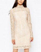 Reiss Lillie Lace Shift Dress in Blush. pale pink dresses – high neck style – long sleeved