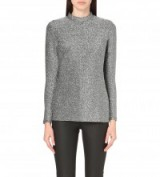 REISS Shimmer metallic-knit top – womens knitwear – knitted tops – pewter metallics – jumpers