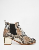 River Island Snake Effect Gold Detail Boots. Block heeled footwear – animal prints – snake print ankle boots