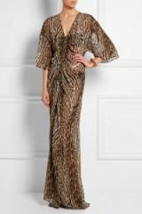 ROBERTO CAVALLI Leopard-print silk-chiffon gown. Glamour – glamorous animal printed gowns – leopard prints – long designer dresses – occasion wear