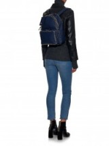 VALENTINO Rockstud leather medium backpack navy. Designer backpacks / luxury bags