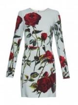 DOLCE & GABBANA Rose-print long-sleeved cady dress duck egg blue – designer dresses – luxury floral printed fashion