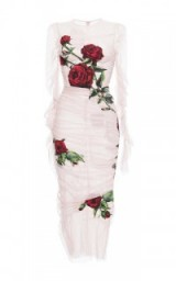 DOLCE & GABBANA Ruched Tulle Rose Appliqué Sheath Dress