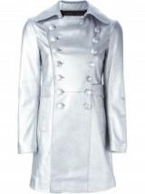 SAINT LAURENT metallic coat – designer coats – silver metallics