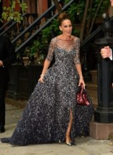 Sarah Jessica Parker heading to the 2015 New York City Ballet Fall Gala, wearing a glittering silver/grey Zuhair Murad​ gown, silver T-bar heels and carrying a burgundy sequined handbag. SJP fashion ~ Hollywood style glamour ~ designer gowns ~ style icons