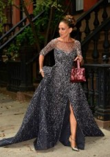 Very Carrie Bradshaw…Sarah Jessica Parker heading to the 2015 New York City Ballet Fall Gala, wearing a glittering silver/grey Zuhair Murad​ gown, silver T-bar heels and carrying a burgundy sequined handbag. SJP fashion ~ Hollywood style glamour ~ designer gowns ~ style icons