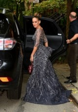Sarah Jessica Parker heading to the 2015 New York City Ballet Fall Gala, wearing a glittering silver/grey Zuhair Murad​ gown, carrying a burgundy sequined handbag and with her hair in a chic updo. SJP fashion ~ Hollywood style glamour ~ designer gowns ~ style icons