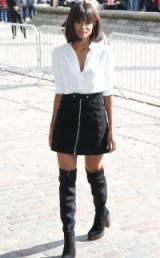 Ciara street style at LFW…white shirt, black A-line mini skirt and over the knee boots. Celebrity fashion | outfit inspiration | black & white outfits