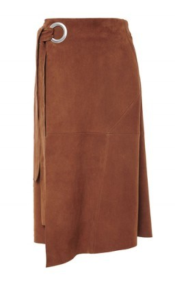 TIBI Self Tie Tan Suede Wrap Skirt - flipped