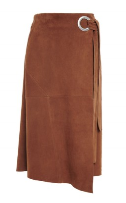 TIBI Self Tie Tan Suede Wrap Skirt
