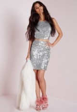 Missguided sequin mini skirt silver. Party fashion – evening skirts – going out – sequins