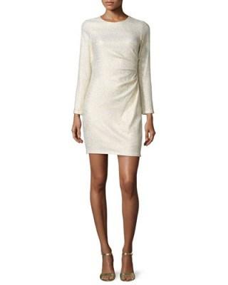 Shoshanna Long-Sleeve Ruched-Side Metallic Dress, Ivory/Gold – evening dresses – occasion fashion - flipped