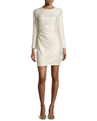 Shoshanna Long-Sleeve Ruched-Side Metallic Dress, Ivory/Gold – evening dresses – occasion fashion