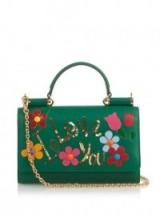 DOLCE & GABBANA Sicily Smart Gloss embellished cross-body bag green. Designer handbags – luxury crossbodybags
