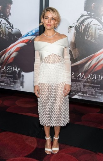 Sienna Miller wears a sheer white Balenciaga bardot dress to the American Sniper NY premiere. Sienna Miller's style ~ style icon ~ celebrity fashion ~ celebrities ~ actresses - flipped