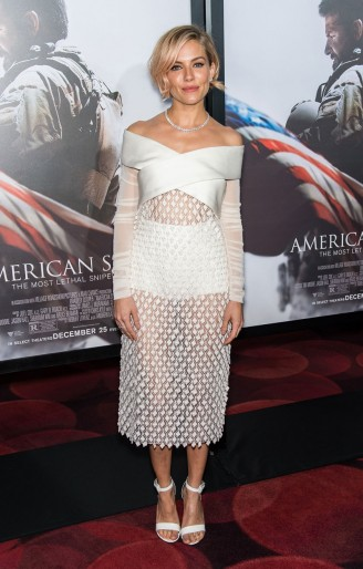 Sienna Miller wears a sheer white Balenciaga bardot dress to the American Sniper NY premiere. Sienna Miller's style ~ style icon ~ celebrity fashion ~ celebrities ~ actresses