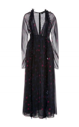 THAKOON Silk Chiffon Long Sleeved Midi Dress