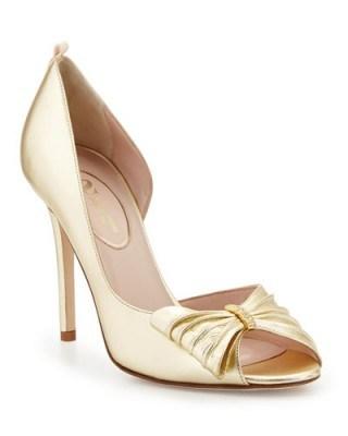 SJP by Sarah Jessica Parker Doris Metallic Half d'Orsay Pump, Gold – metallic court shoes – high heel pumps - flipped