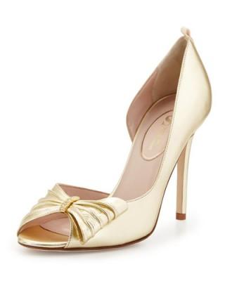 SJP by Sarah Jessica Parker Doris Metallic Half d'Orsay Pump, Gold – metallic court shoes – high heel pumps