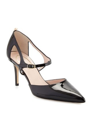 SJP by Sarah Jessica Parker Phoebe Patent Mary Jane Pump, Black. Mary Janes ~ pointed toe shoes ~ high heels ~ designer pumps - flipped
