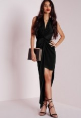 Missguided slinky halter maxi dress black. Evening dresses – party fashion – going out glamour