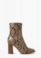 MANGO snake finish ankle boots brown. Animal prints – high heeled boots – 70s style footwear – autumn / winter fashion