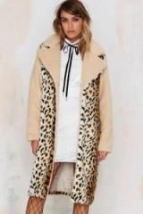 Spot Twist Shearling Coat. Animal print coats – winter outerwear – warm fashion – leopard prints