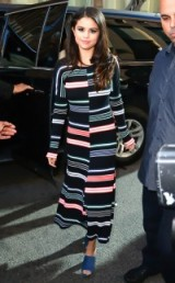 Selena Gomez street style… Kenzo striped & ribbed wool midi dress fwrd.com and a pair of blue mules, October 2015. Celebrity fashion | star style | designer dresses | what celebrities wear