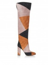 GIANVITO ROSSI Stivale Luggage over-the-knee suede boots. High heeled patchwork boots / designer footwear / 70s vibe
