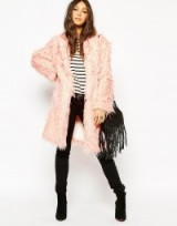 Story Of Lola Midi Length Faux Fur Coat In Shaggy Long Hair Fur. pink fluffy coats – winter fashion – warm outerwear