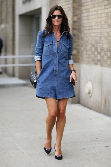 Casual street style chic in a denim romper | outfit inspiration